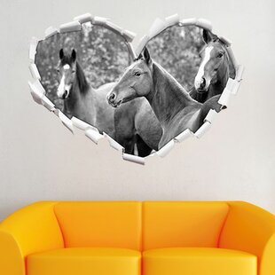 Beautiful Horses In A Meadow Wall Sticker By East Urban Home