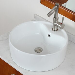 Read Reviews Ceramic Oval Vessel Bathroom Sink with Overflow By American Imaginations