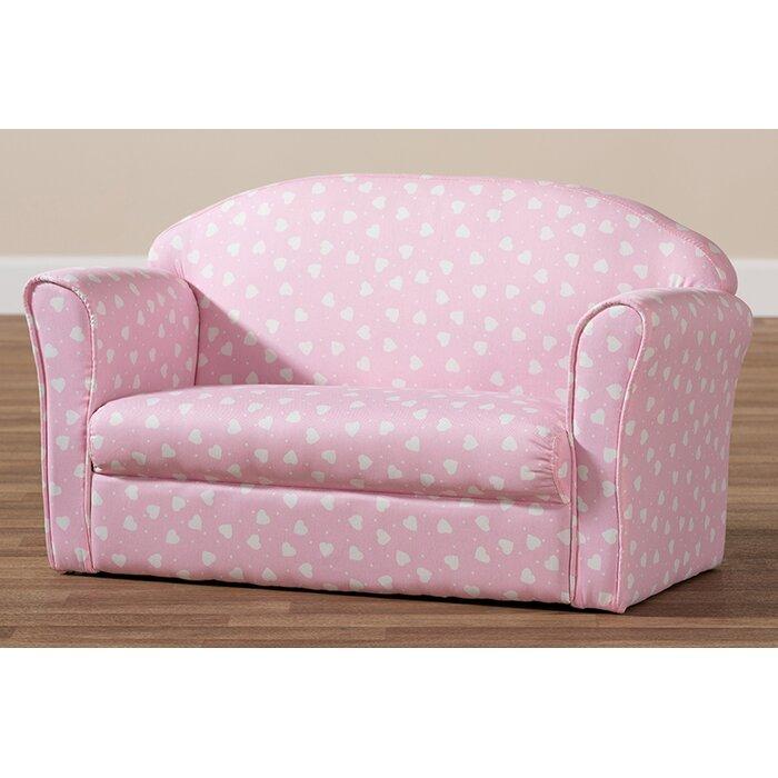 Amadi Heart Patterned Fabric Upholstered Kids Sofa