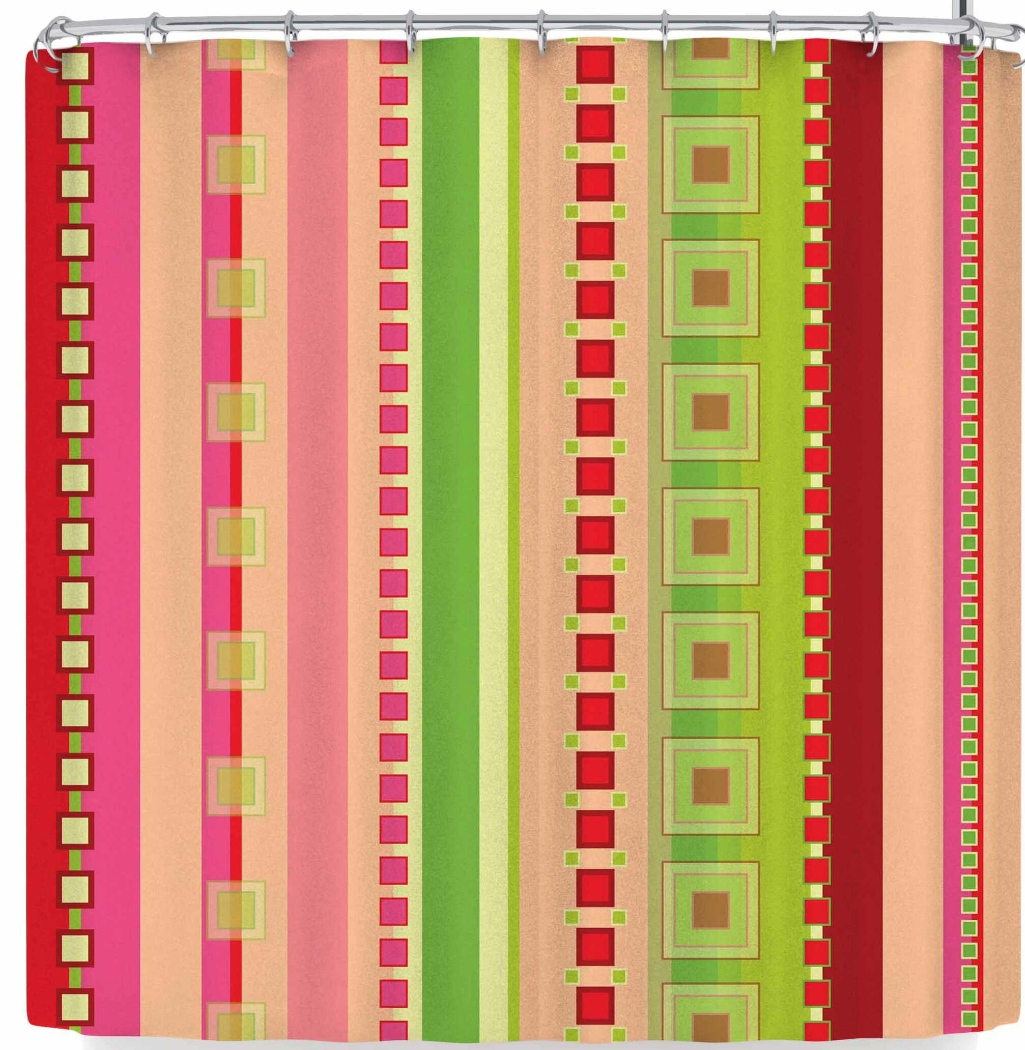 Allison Soupcoff Festive Stripes In Single Shower Curtain