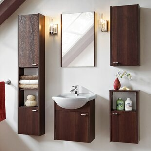 Fine 49cm Wall Mounted Bathroom Furniture Set with Mirror, Tap and Storage Cabinets