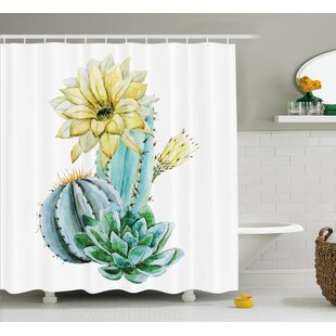 Pascoe Vector Image With Watercolor Cactus Spikes And Alluring Flowers Print Shower Curtain By Bungalow Rose