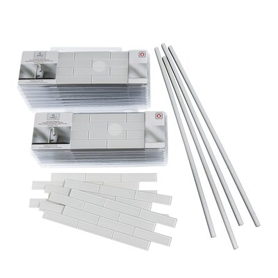 Aspect 4 x 12 Glass Peel & Stick Subway Tile Kit in Frost