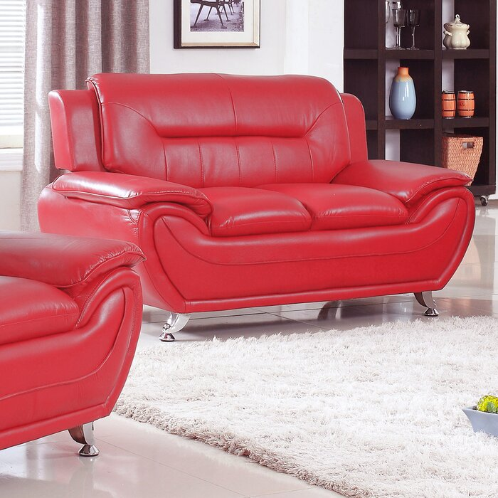 Zipcode Design Lester Modern Living Room Faux Leather Loveseat ...