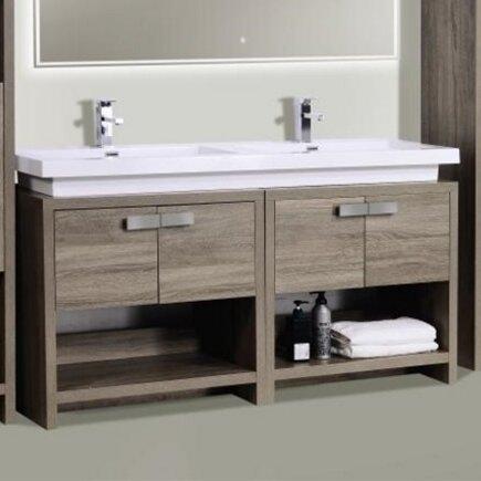 """Modern Bathroom Vanities Sinks kube bath levi 63"""" double modern bathroom vanity set & reviews"""