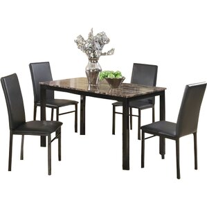Jessee Faux Marble 5 Piece Dining Set by Red Barrel Studio
