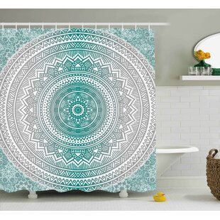 Yvette Gray and Teal Mandala Ombre Design Sacred Space Geometric Center Point Boho Meditation Art Single Shower Curtain