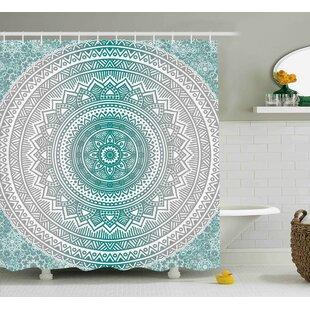 Yvette Grey and Teal Mandala Ombre Design Sacred Space Geometric Center Point Boho Meditation Art Shower Curtain