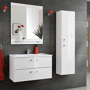 Adel Wall 60cm Wall Mounted Bathroom Furniture Set with Mirror, Tap and Storage Cabinet