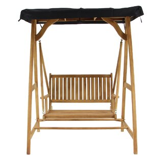 Beeching Traditional Teak Wood Roofed Outdoor Porch Swing with Stand