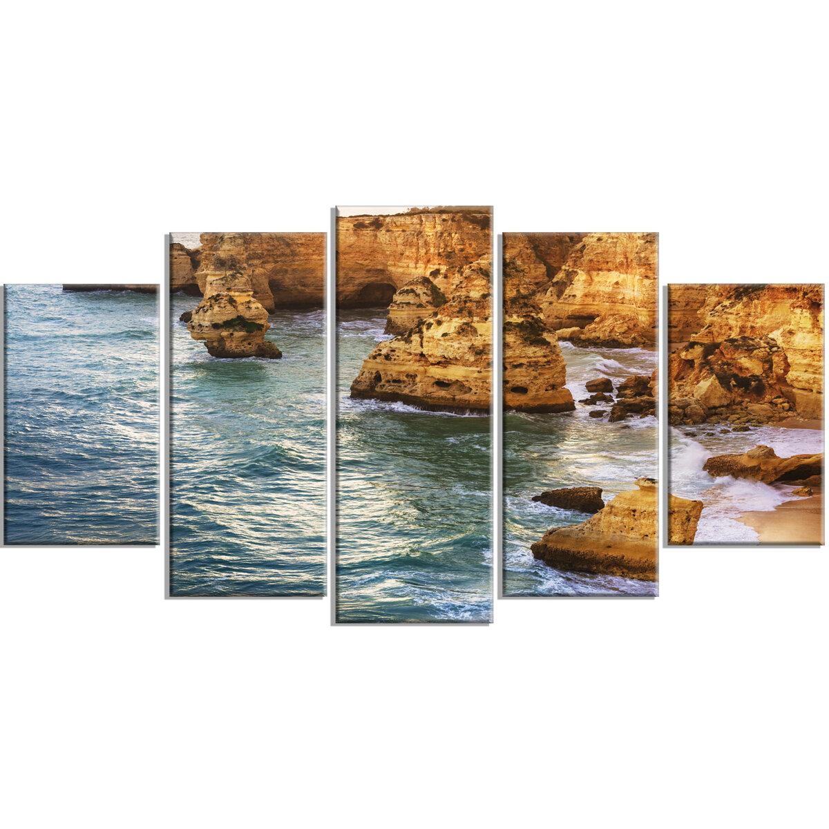 Designart Golden Rocks And Beach At Algarve 5 Piece Photographic Print On Wrapped Canvas Set Wayfair