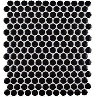 Retro Penny Round 9 75 X 11 5 Porcelain Mosaic Tile In Black