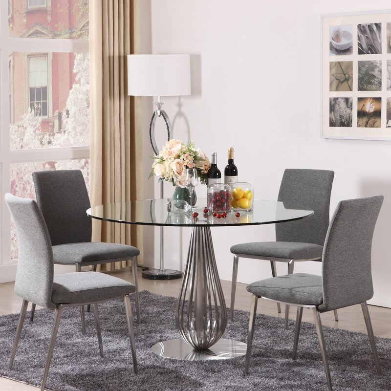 Delicieux 5 Piece Round Glass Dining Set