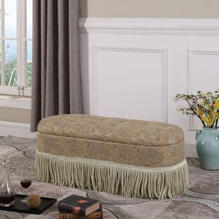 Astoria Grand Finley Floral Upholstered Storage Bench