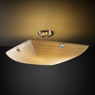 Salaam 3-Light Bamboo Semi Flush Mount by World Menagerie