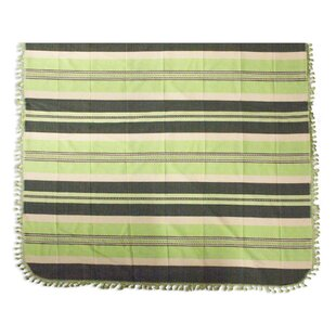 Novica Fields of Oaxaca Hand Woven Striped Cotton Bedspread