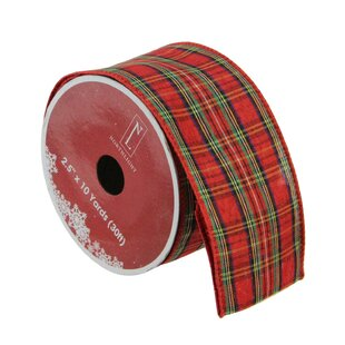 plaid wired christmas craft ribbon set of 12