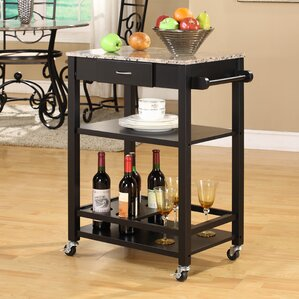 Jamestown Kitchen Cart with Faux Marble Top by Andover Mills Compare Price