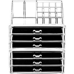 3 Piece  Clear Cosmetic Organizer Set