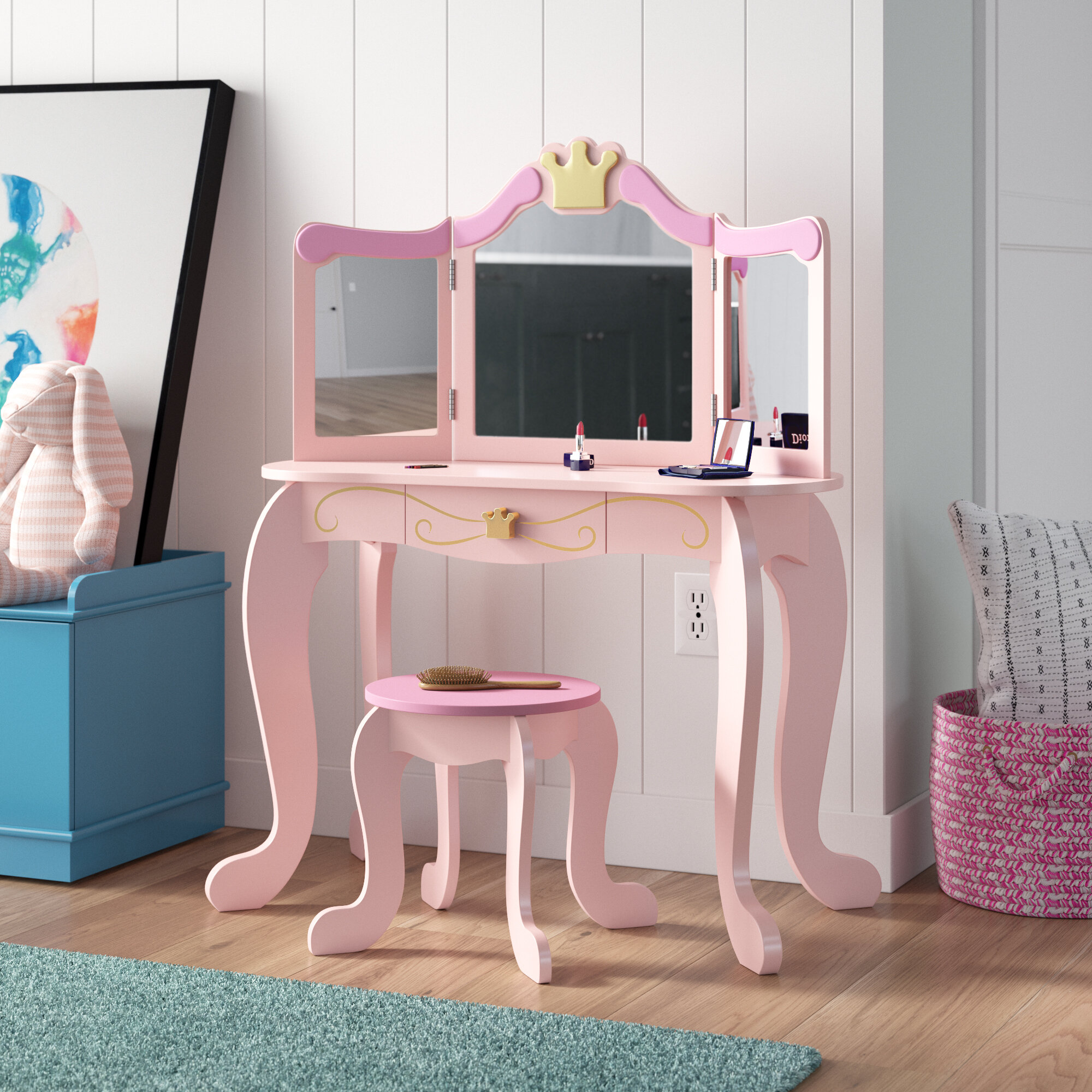 Kidkraft Princess Vanity Set With Mirror Reviews Wayfair