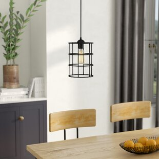 Beachcrest Home Barrons 1-Light Cylinder Pendant