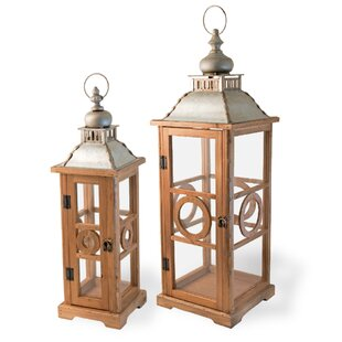Bloomsbury Market 2 Piece Wood Lantern Set