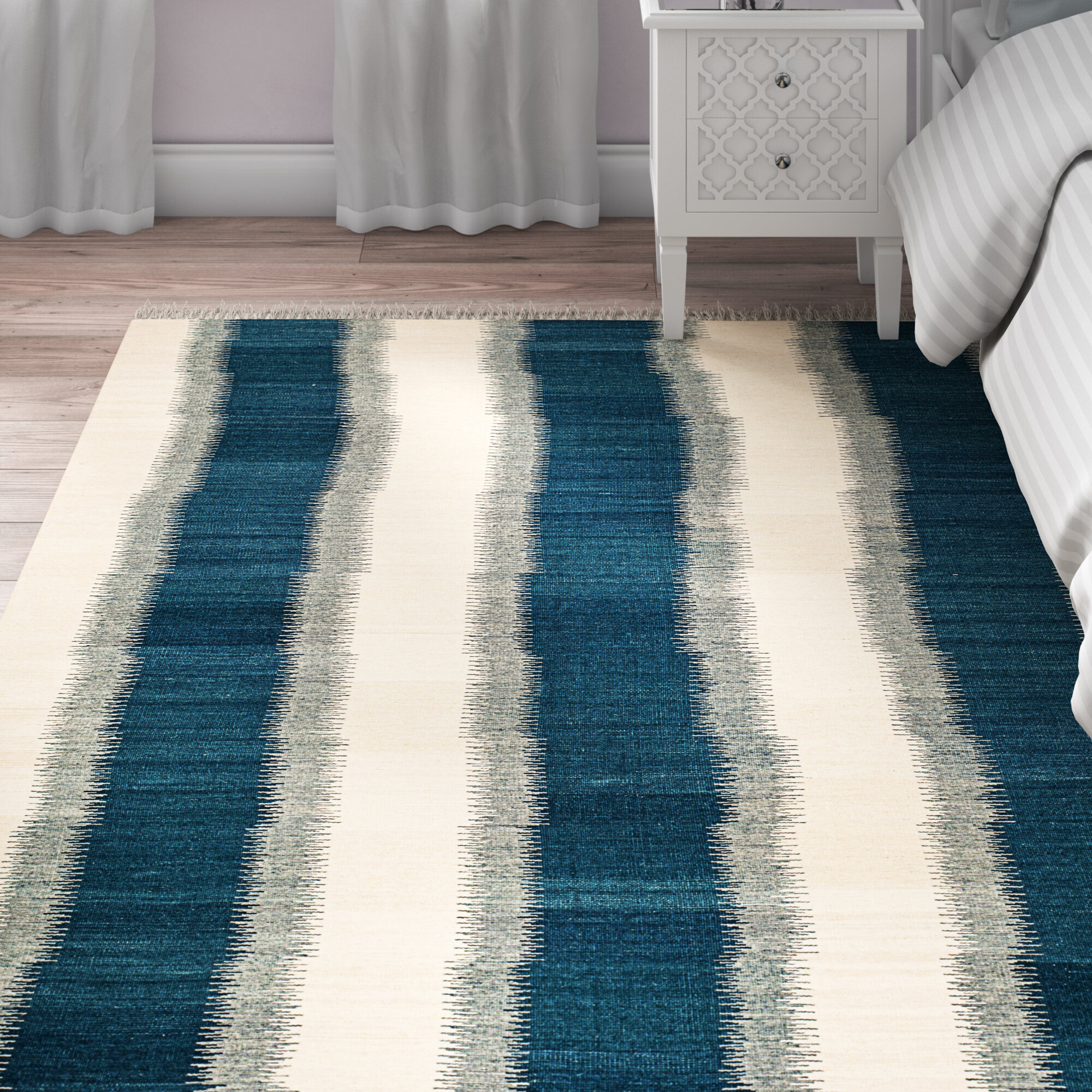 Breakwater Bay Fitzpatrick Handwoven Flatweave Wool Blue Area Rug Reviews Wayfair