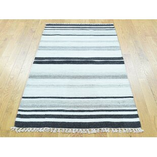Purchase One-of-a-Kind Bedminster Striped Reversible Handmade Kilim Wool Area Rug By Isabelline