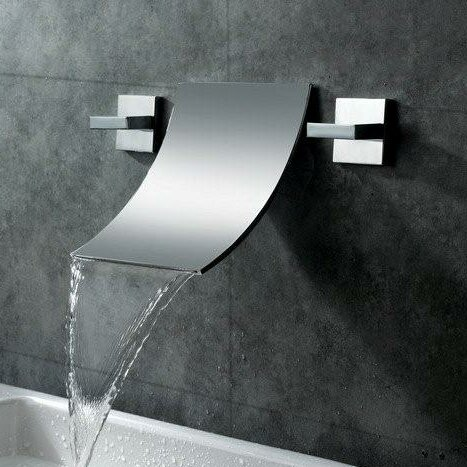Wall Mount Waterfall Bathroom Sink Faucet