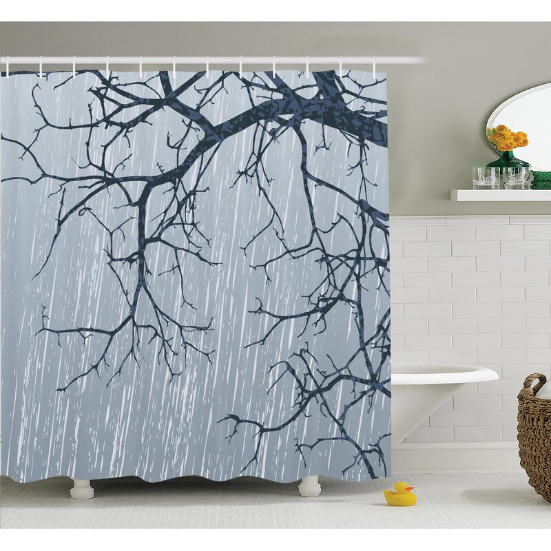 Tree Rainy Day Branches Shower Curtain Set