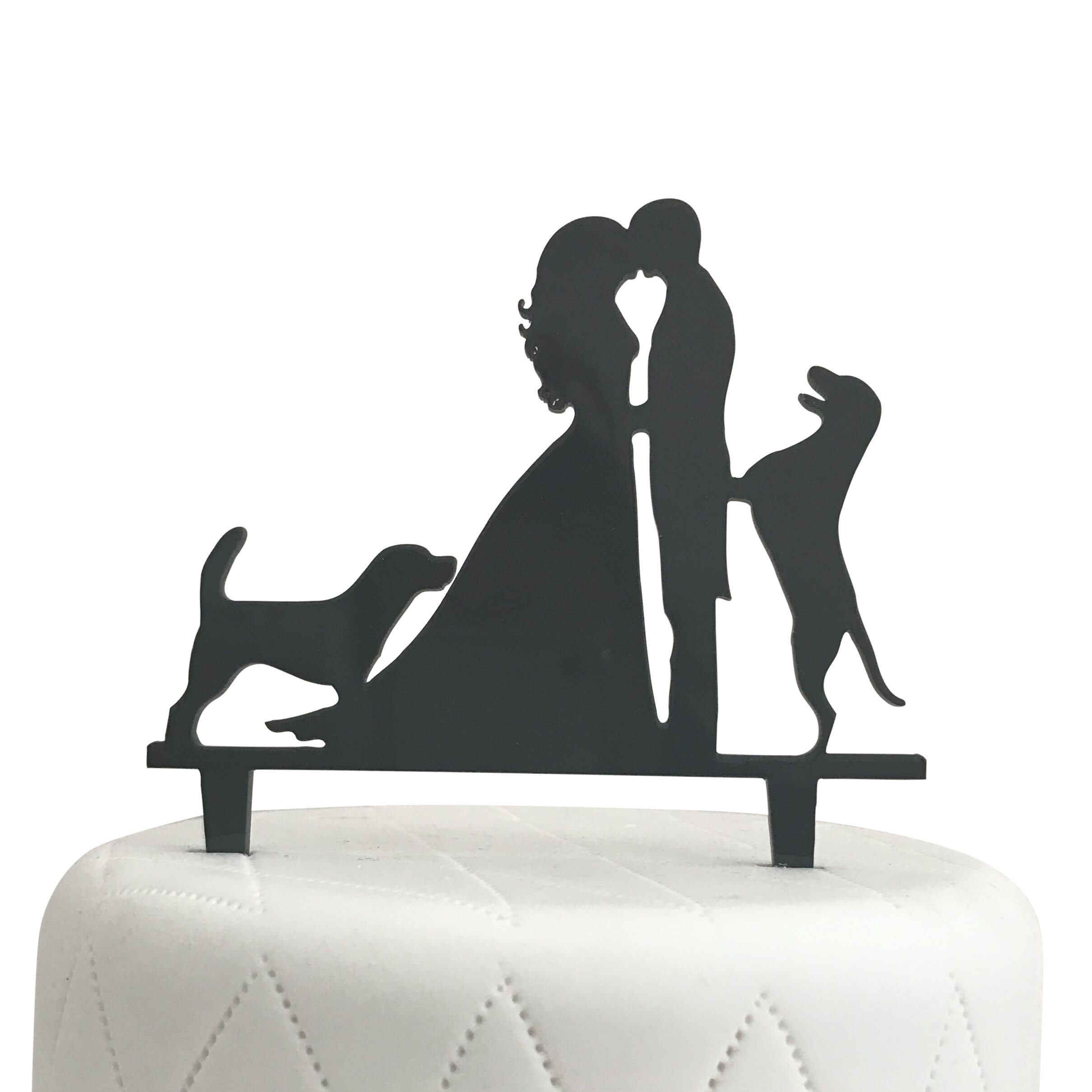 Unik Occasions Bride, Groom and Two Dogs Silhouette Acrylic Cake ...