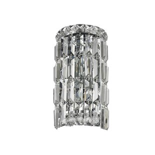 Savings Clare 2-Light Clear Crystal Cascade Wall Sconce with Hardwired By Rosdorf Park
