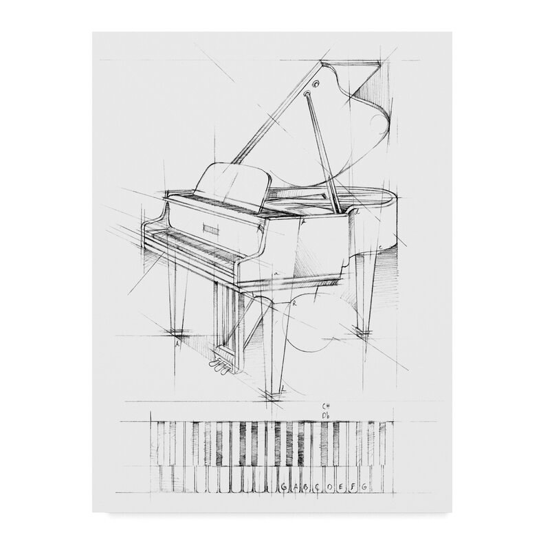 East Urban Home Piano Sketch Watercolor Painting Print On Wrapped Canvas Wayfair