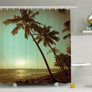 Affordable Palm Tree Sunset Tropical Beach Dusk on Pacific Ocean Vintage Exotic Landscape Print Shower Curtain Set ByAmbesonne