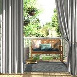 Dejon Striped Semi-Sheer Outdoor Grommet Single Curtain Panel