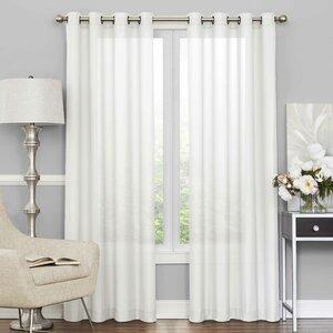 Derik Solid Sheer Tab Top Single Curtain Panel