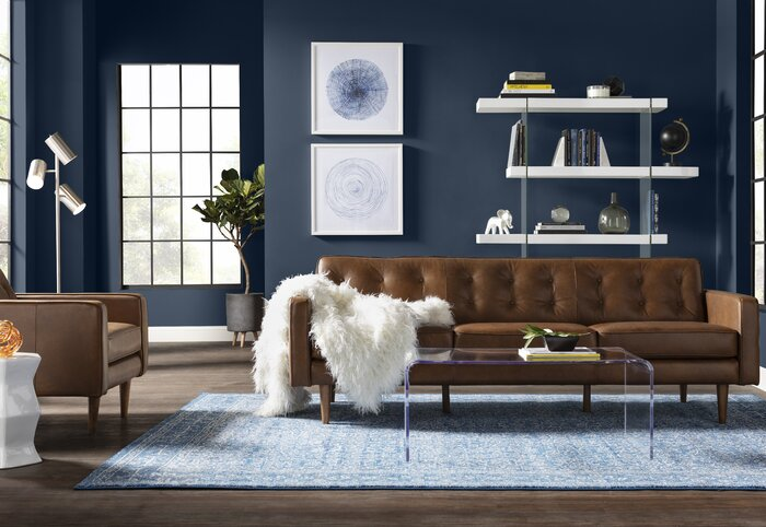 Louane Mid Century Modern Leather Sofa