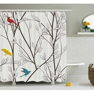 Foster Nature Birds Wildlife Cartoon Like Image With Tree Leaf Art Print Shower Curtain by Winston Porter