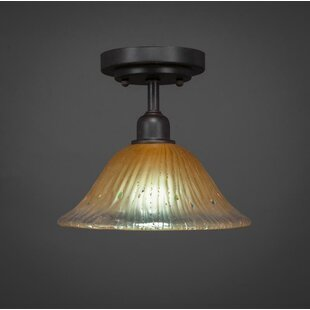 Kash 1-Light Crystal Bell Shade Semi-Flush Mount by Williston Forge
