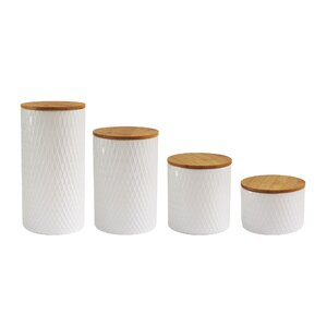 Diamond Embossed 4 Piece Kitchen Canister Set