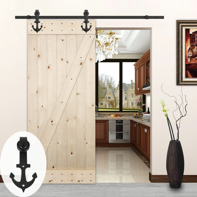 Superieur Anchor Style Sliding Wood Track Kit Barn Door Hardware
