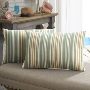 Cavisson Striped Indoor/Outdoor Sunbrella Lumbar Pillow (Set of 2)