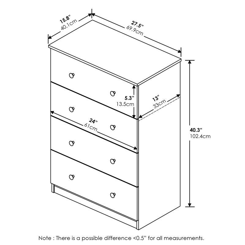 Ebern Designs Agnello Simple Design 4 Drawer Dresser French Oak Grey Wayfair