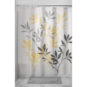 Leaves Shower CurtainGray   Silver   Yellow   Gold Shower Curtains You ll Love   Wayfair. Silver And Gold Shower Curtain. Home Design Ideas