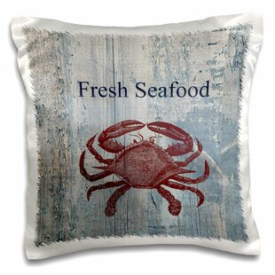 Fresh Seafood Crab On Wash Wood Beach Theme Pillow Cover