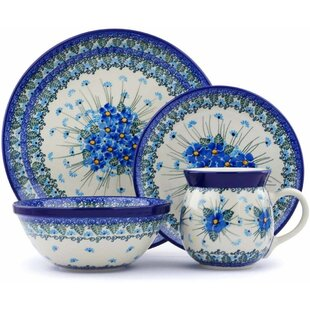 Polish Pottery 4 Piece Place Setting Service for 1  sc 1 st  Wayfair : polish pottery dinnerware - pezcame.com