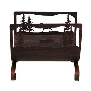 Moose Scene Wood Log Carrier By Coast Lamp Mfg.