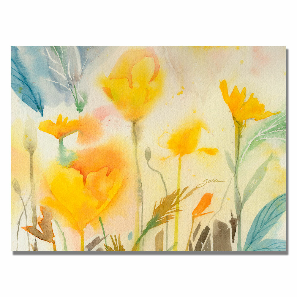 \'Yellow Poppies\' by Sheila Golden Framed Painting Print on Wrapped Canvas