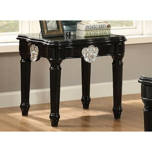 Swinton Wooden Contrast Carved Motif Turned Legs End Table by Astoria Grand