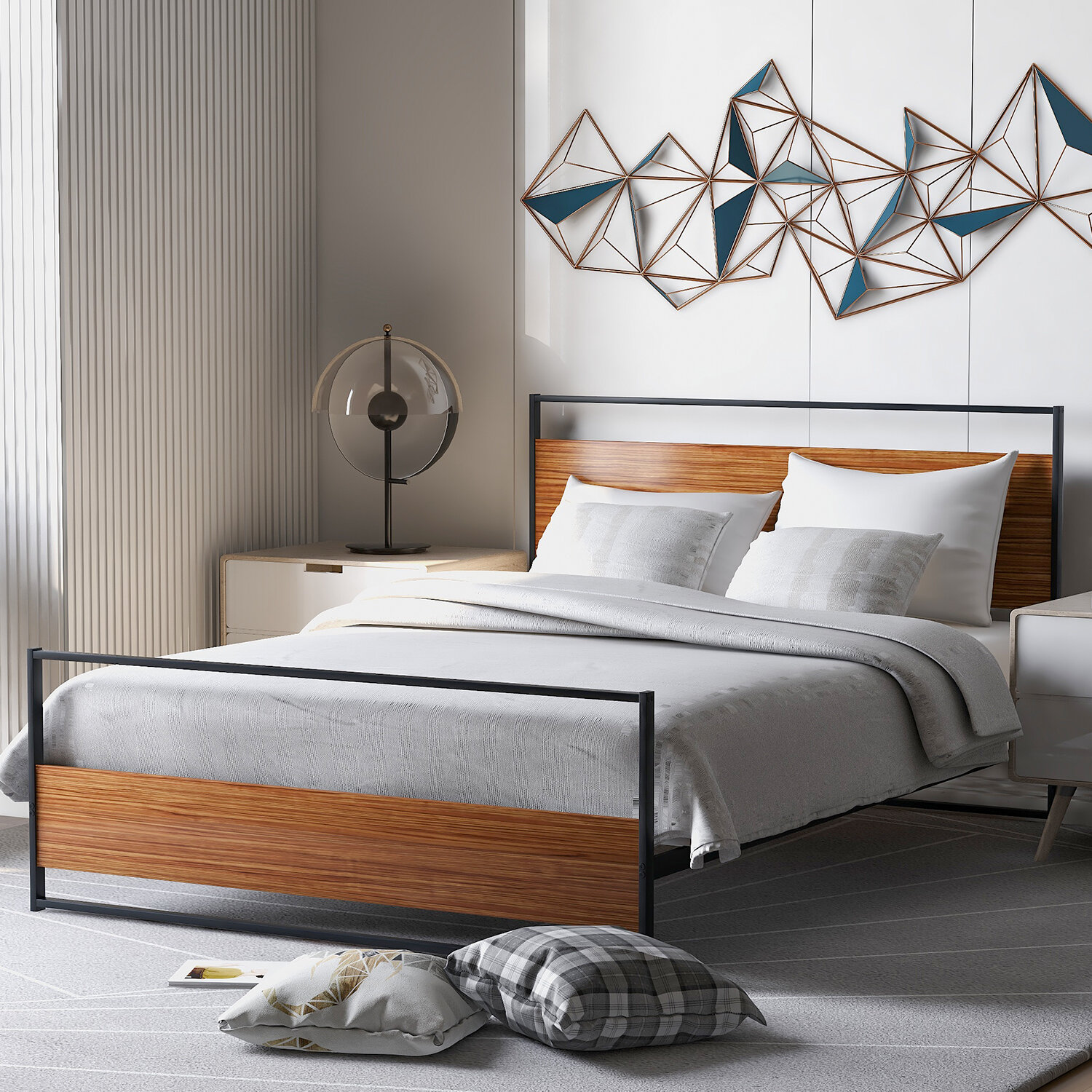 Picture of: Latitude Run Full Size Metal And Wood Platform Bed Frame With Headboard And Footboard And Wooden Slat Support No Box Spring Needed For Bedroom Wayfair Ca